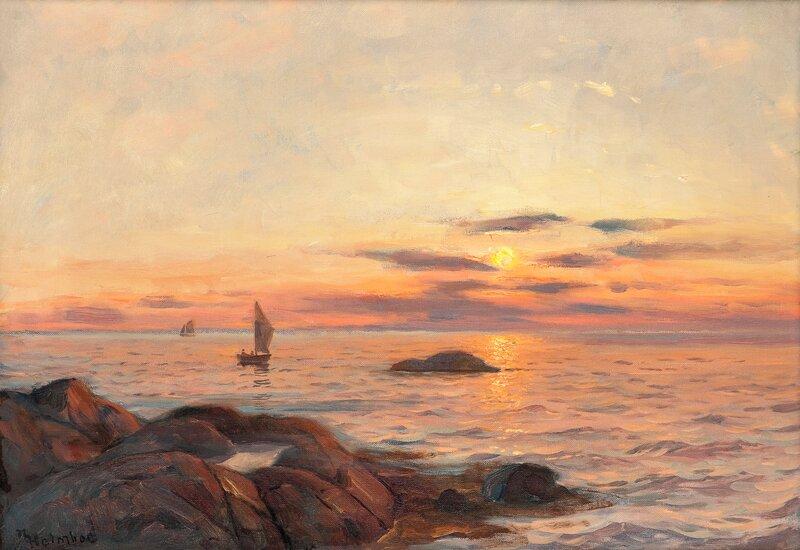 Kystlandskap med seilbåter