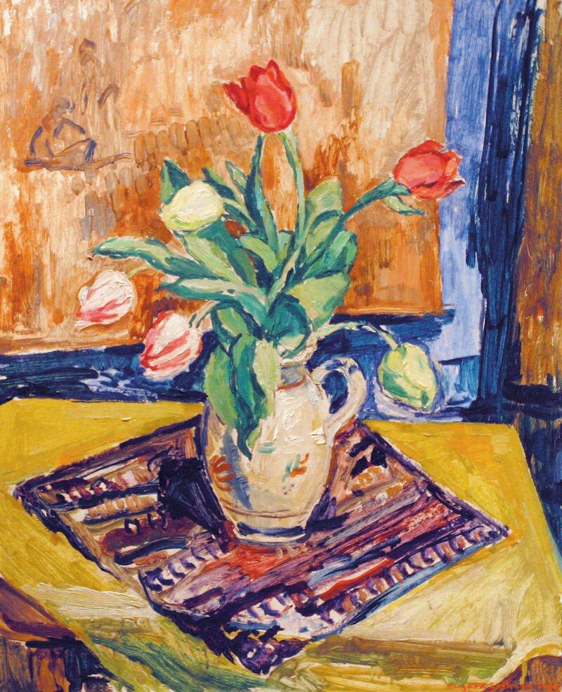 Oppstilling med tulipaner i mugge 1944