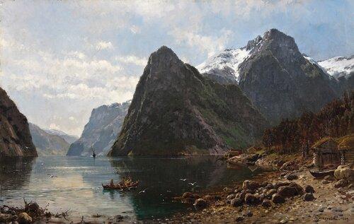 Fjordlandskap med folkeliv 1889