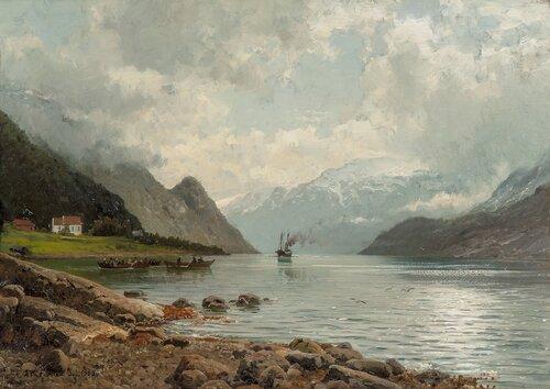 Fjordabåten kommer, Sørfjorden Hardanger 1885