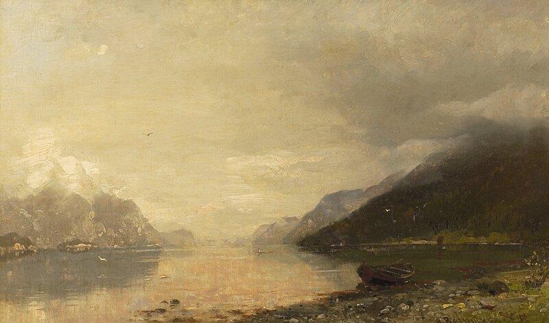 Fjordlandskap med robåt