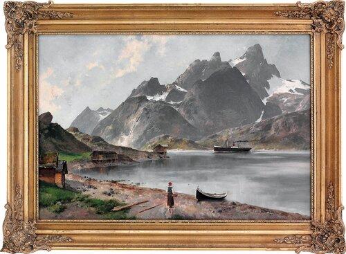 Kvinne i fjordlandskap med dampbåt