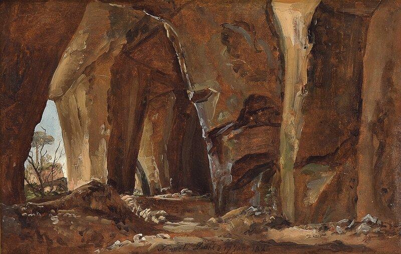 Naturstudie, grotte ved Napoli 1821