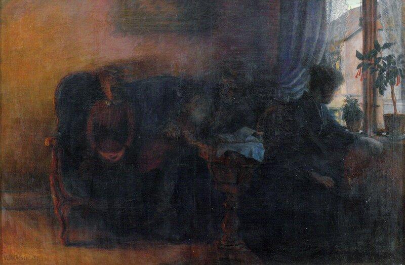 Kvinner, mann og barn i interiør 1894