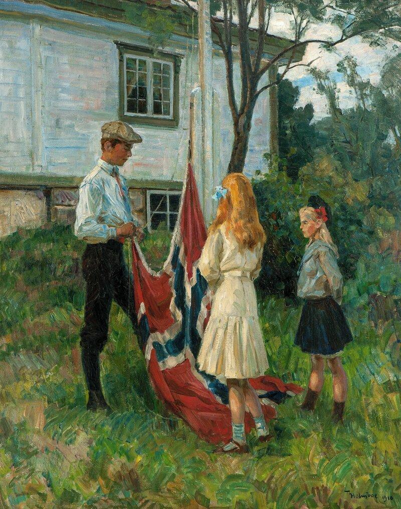 Barn heiser det norske flagg 1910