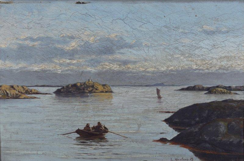 Kystlandskap med seilbåt og robåt 1889