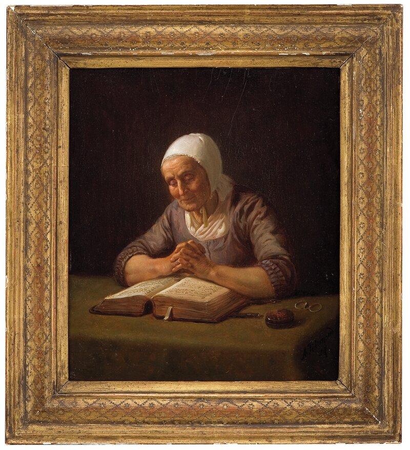 Lesende gammel kone