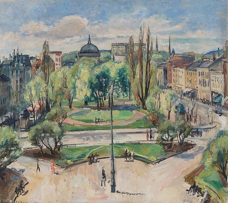 Utsyn over Eidvoldsplass mot Slottet 1932