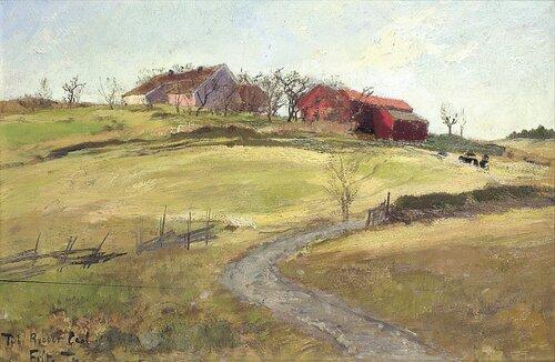 Norsk landskap med bondegård