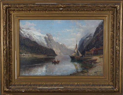 Fjordlandskap med folkeliv 1896