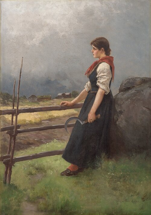 Girl with a sickle by a rail fence
