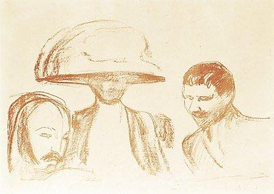 To menn og kvinne med stor hatt