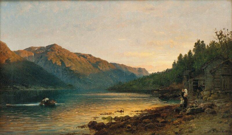 Fjordlandskap med folkeliv 1879