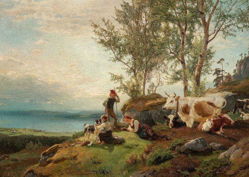 Gjetere på utsiktspunkt 1864