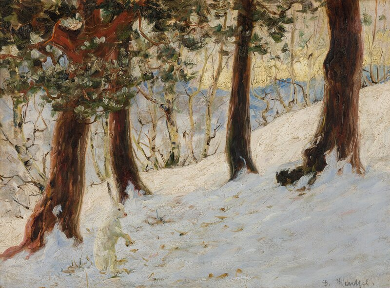 Winter Landscape with a sitting Hare