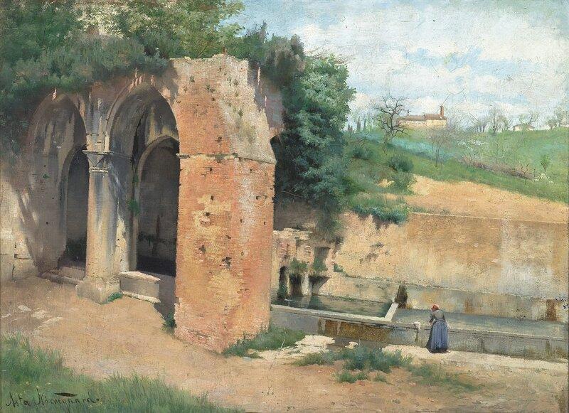 Ved en vannkilde med antikk ruin, Italia