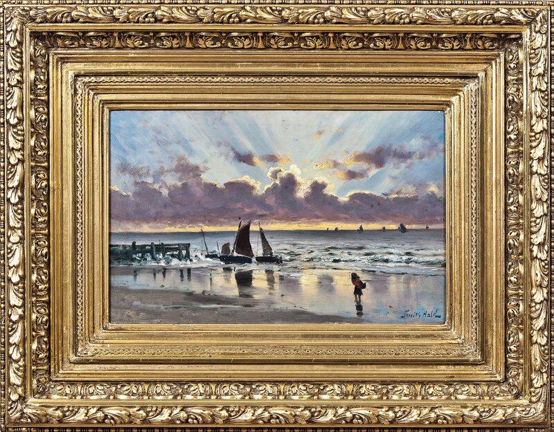 Strandparti med folkeliv, solnedgang