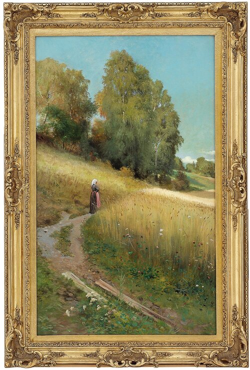 Autumn Landscape with Woman by a Corn Field