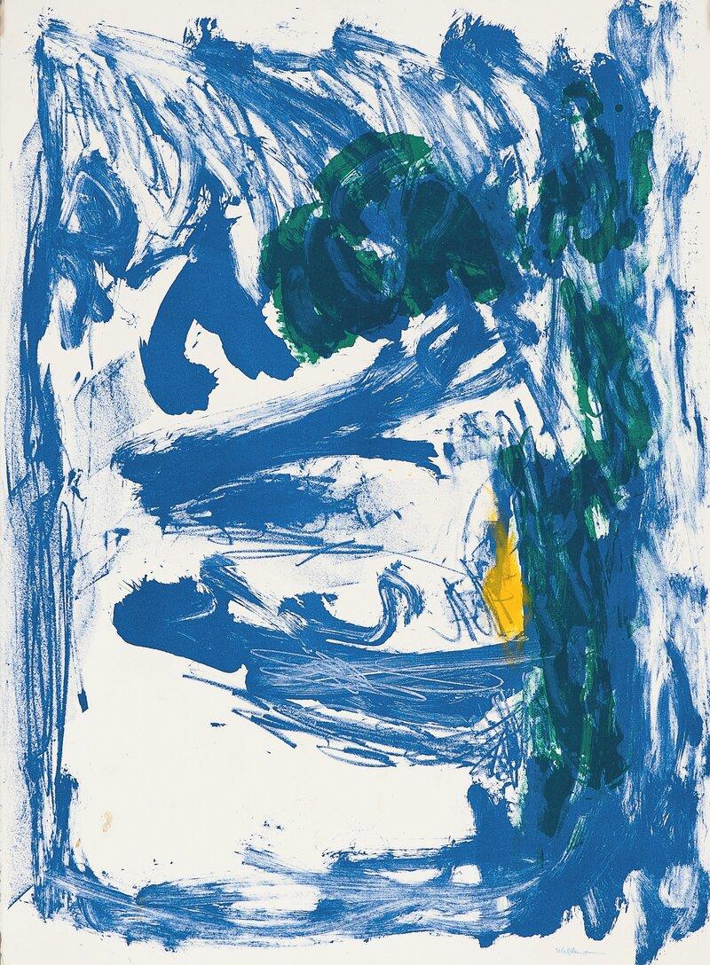 Komposisjon i blått, grønt og gult