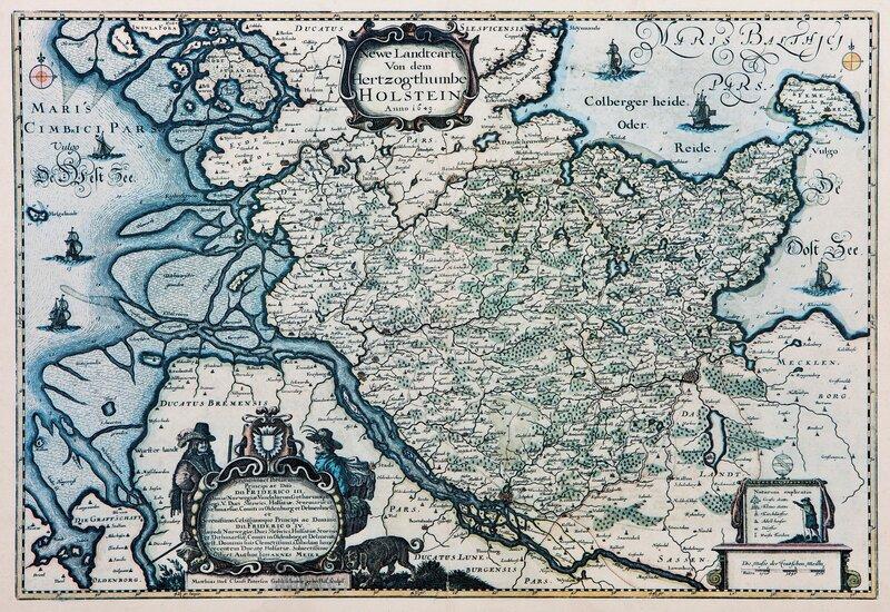 Landkart over hertugdømmet Holstein