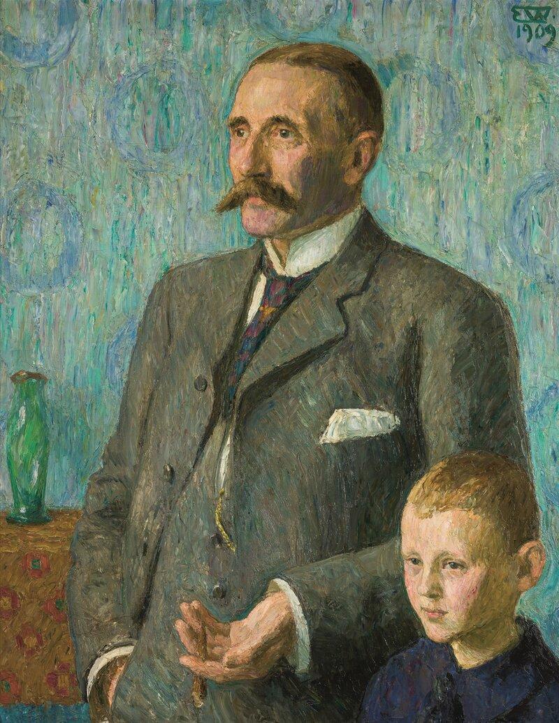 Portrett av Professor Kristian Brandt med sønn 1909