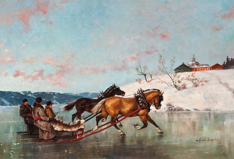 Sledefart på isen med to sleder