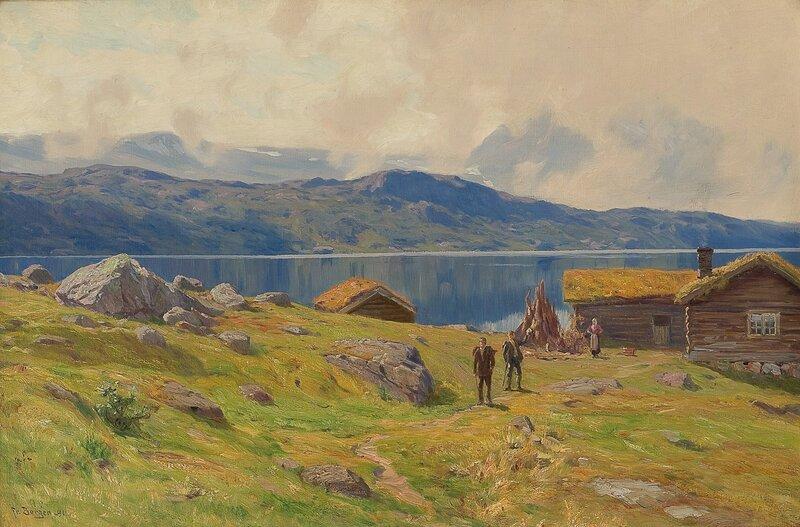 Setervoll ved innsjø med folkeliv 1891