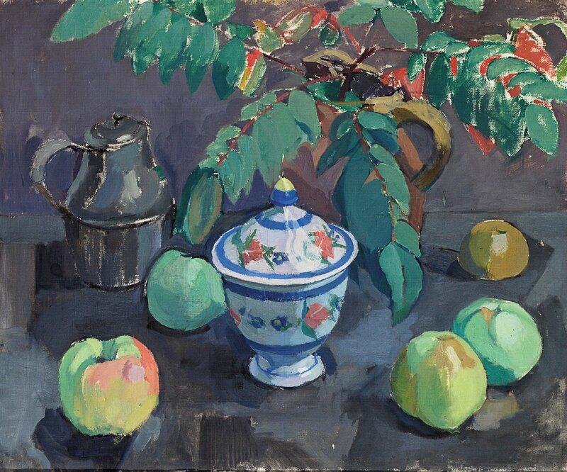 Stilleben med epler, kaffekanne og sukkerkopp 1920