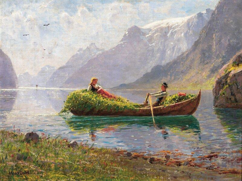 Fjordlandskap med robåt, innhøsting