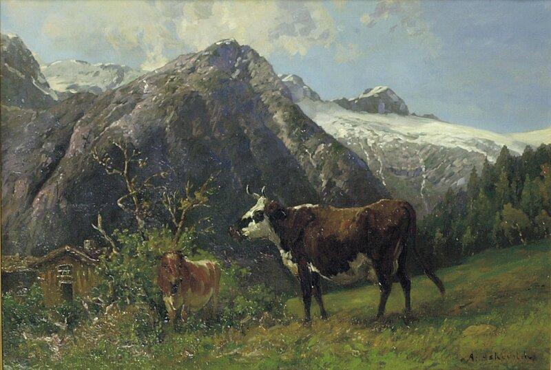 Fjellandskap med gård og to kyr