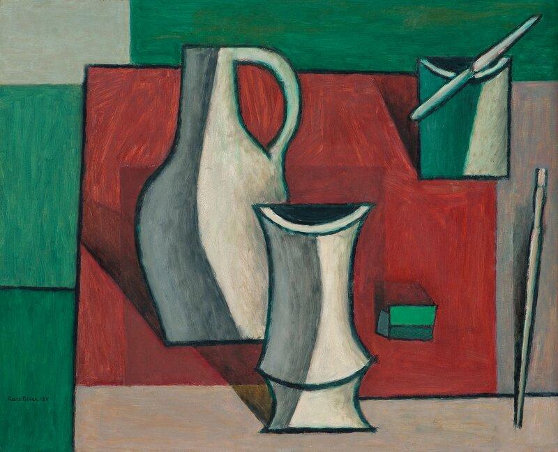 Oppstilling med vase, krukker og pensler 1955