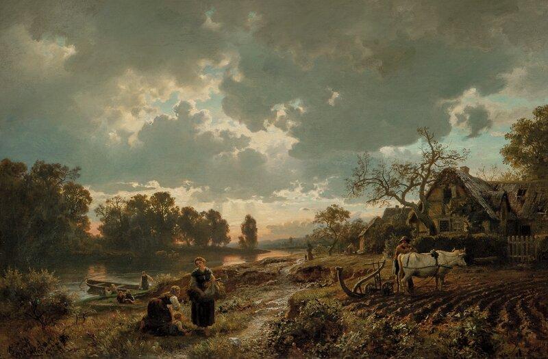Tidlig vår. Tysk vårlandskap med pløyende okse 1860