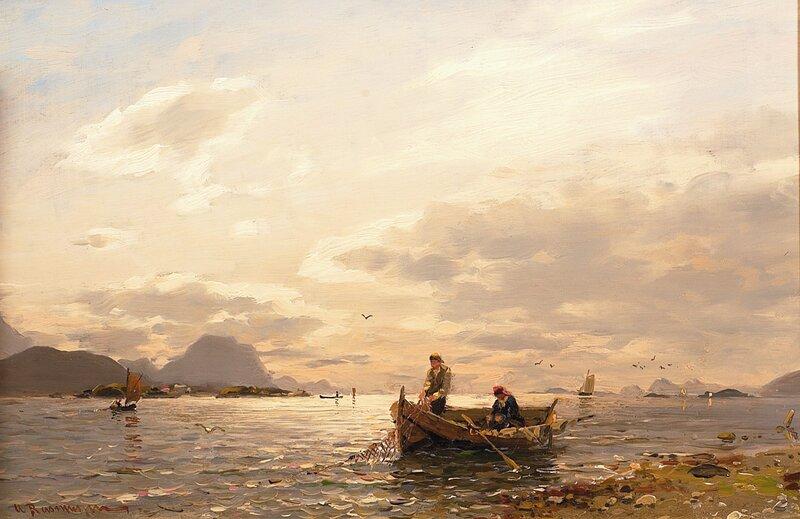 Fisker trekker garn