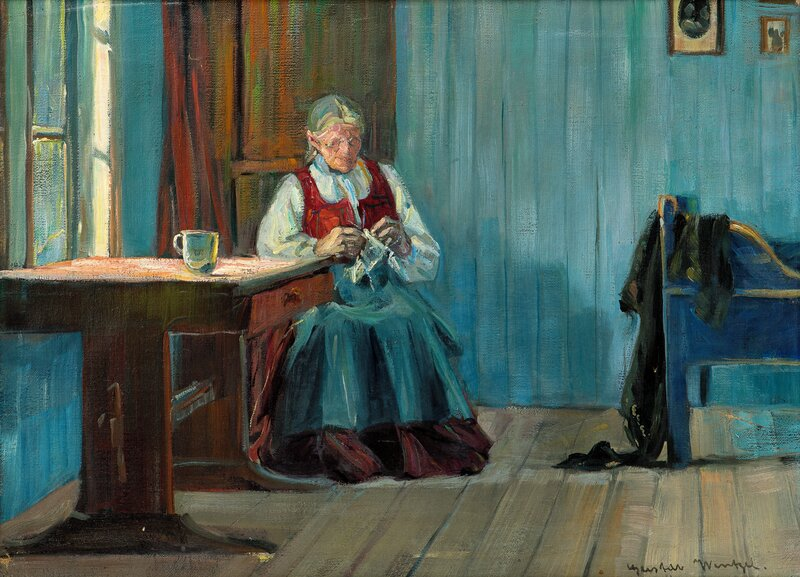Knitting Woman in Interior