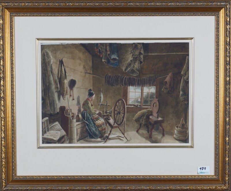 Kvinne ved rokk 1870