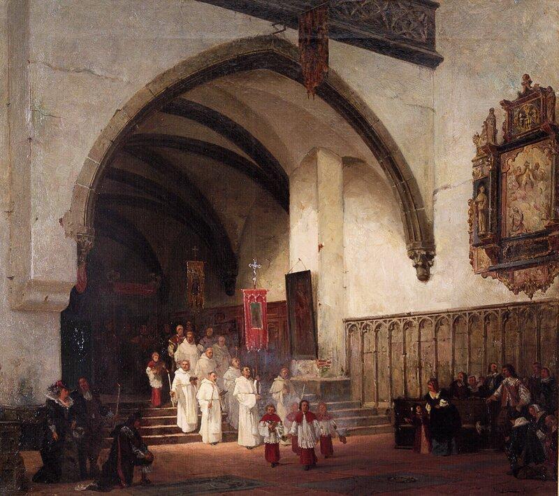 Katolsk prosesjon i kirkeinteriør 1876
