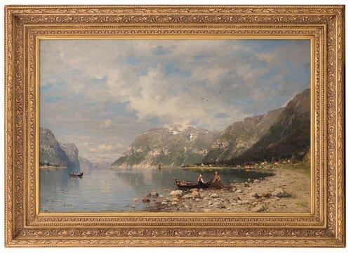 Fjordlandskap med fiskere 1878