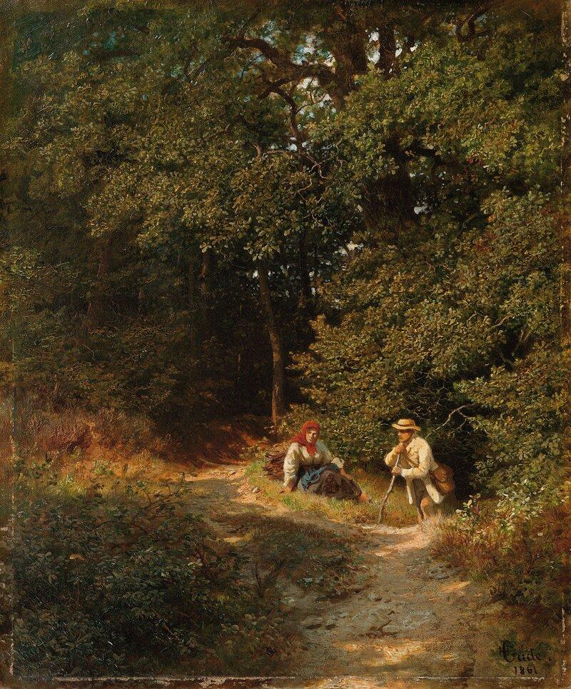 Kvinne og mann ved skogsti 1861