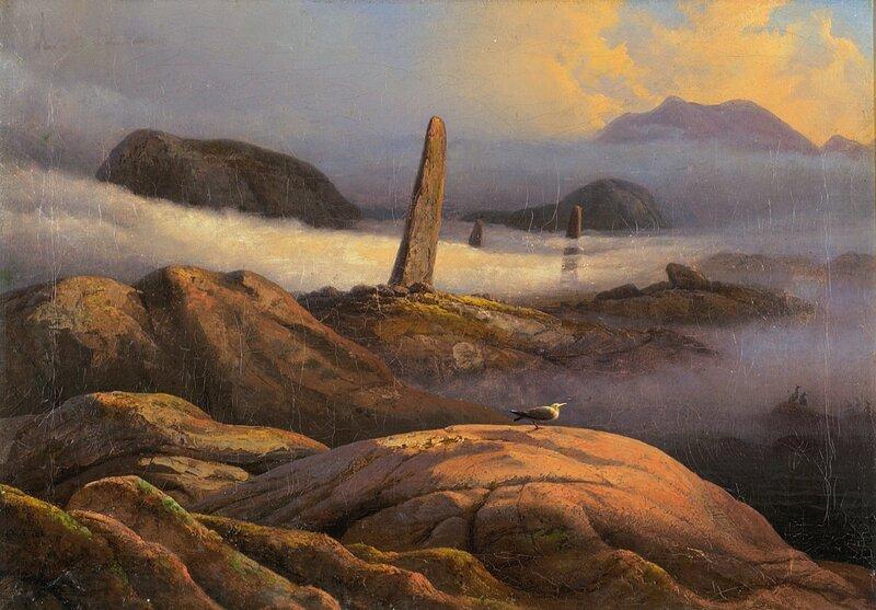 Kystlandskap med bautasteiner og måke 1844