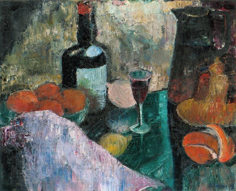 Oppstilling med flaske, glass, mugge og frukt 1919