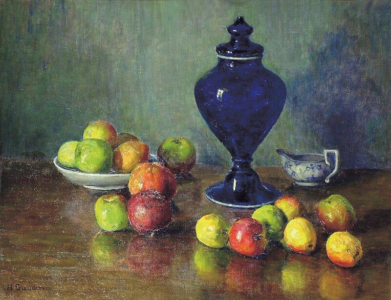 Oppstilling med epler og potpourrikrukke