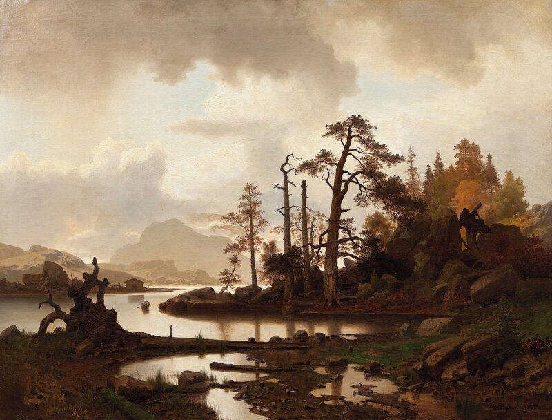 Skogslandskap med innsjø 1858
