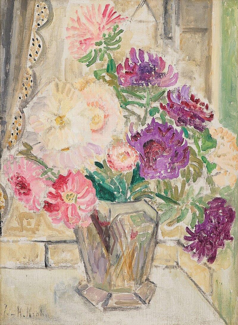 Oppstilling med krysantemum i vase