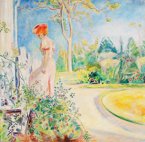 Woman on a Garden Staircase