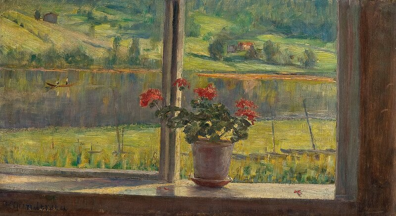 Utsikt fra et vindu med geranium i potte