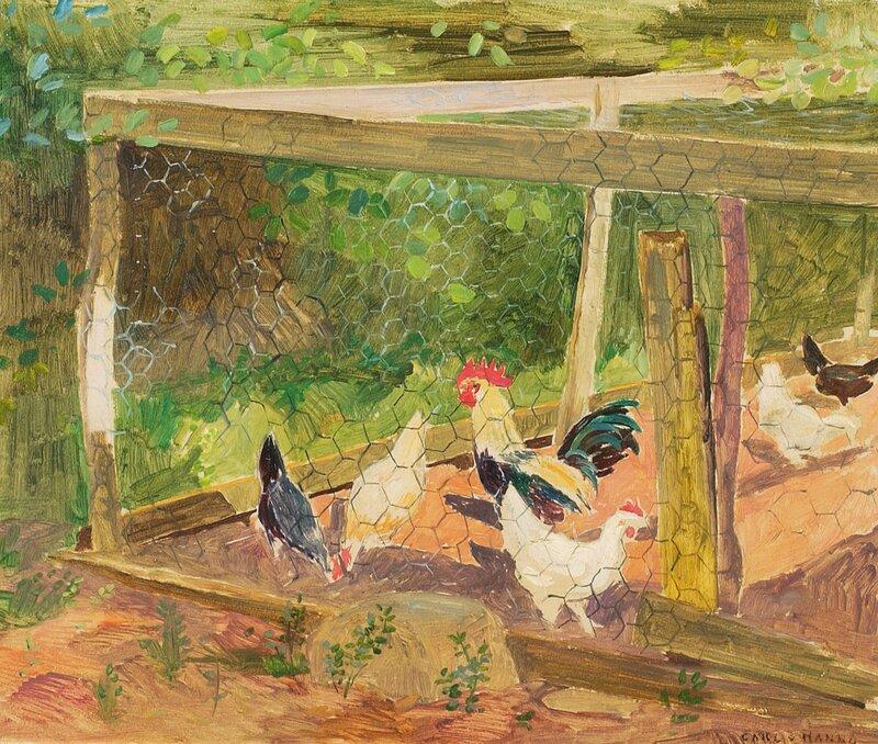 Hønsegård med hane