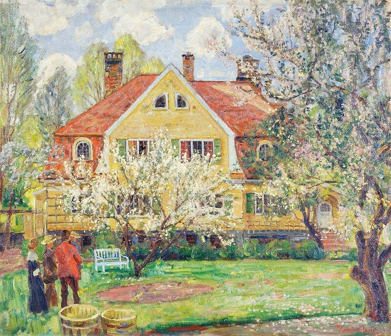 Hus med hage og mennesker 1915