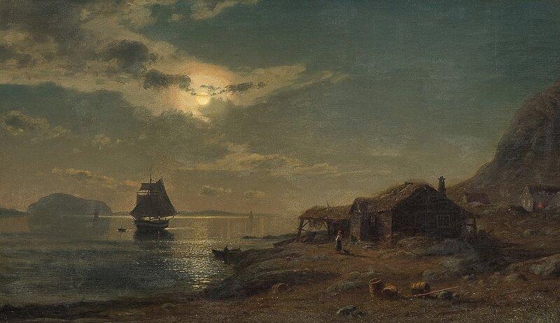 Kystlandskap i måneskinn 1876