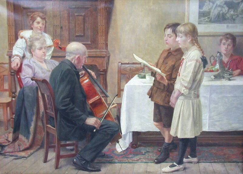 Familien holder konsert 1917