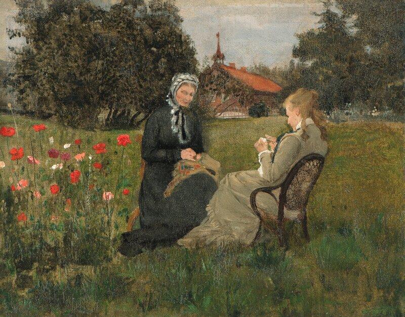 Fredrikke Gram og datteren Nicoline i hagen på Ask